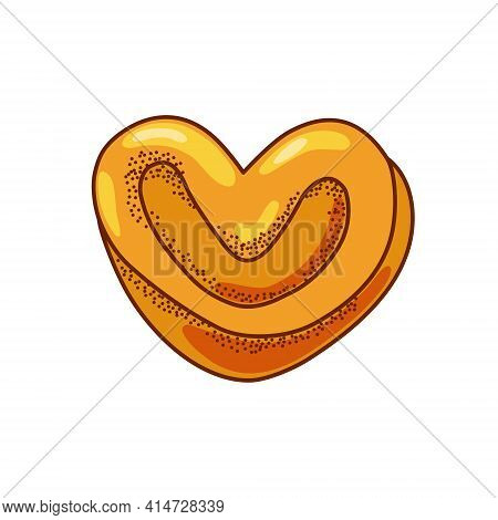 Cinnamon Bun In The Shape Of A Heart On A White Background. Vector Illustration