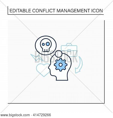 Stress Management Line Icon.controlling Person Stress Level. Avoid Stressful Situations. Conflict Ma