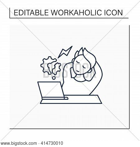 Workaholic Line Icon. Counterproductive Behaviour. Rest On Workplace. Man Relax, Dont Think About Wo
