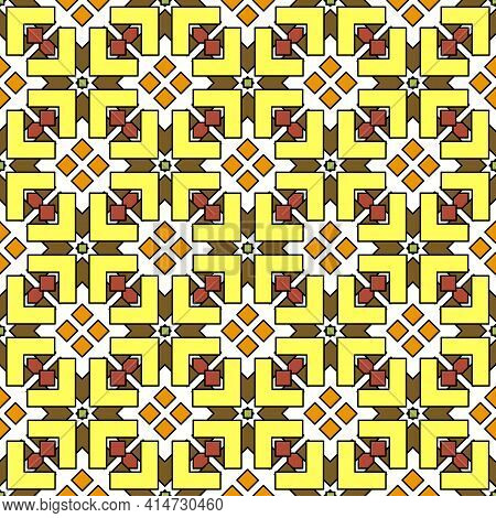 Complex Seamless Geometric Pattern, Multi-layered Intersection Of Figured Elements Of Rhombuses And