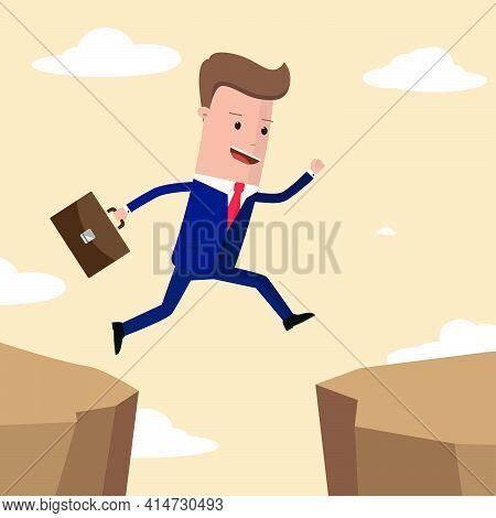 Businessman Jumps Over The Ravine. Challenge, Obstacle, Optimism, Determination In Business Concept.