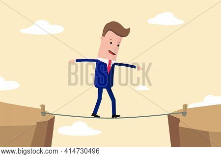 Businessman Is Walking A Tightrope Across The Gap Between The Rocks. Businessman Of The Tightrope Wa