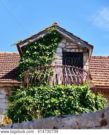 Old Balcony In Ancient Fishermans Cottage, Overgrown With Grapes. Traditional Architecture Of Vrbosk