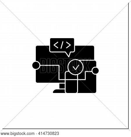 Cross Platform Software Glyph Icon. Implemented On Multiple Computing Platforms. Programming Environ