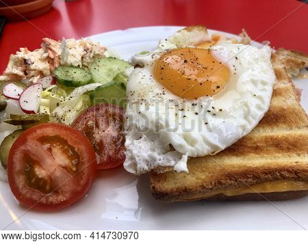 Delicious Croque Madame With Fresh Salad In Antwerp