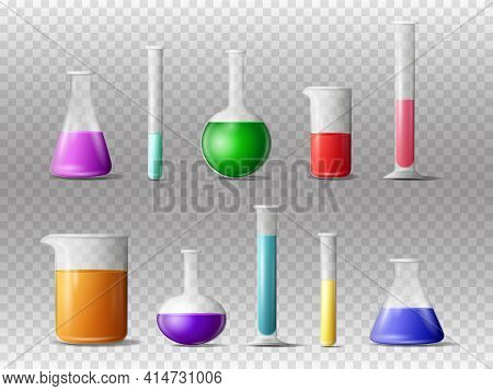 Laboratory Glassware 3d Realistic Vector Set Isolated On White Background. Laboratory Glassware Or B