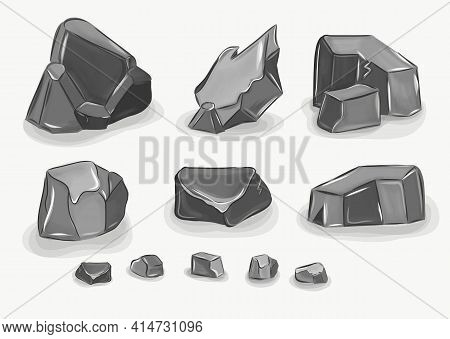 Rock Stone Big Set Cartoon. Stones And Rocks In Isometric 3d Flat Style. Vector Collection Of Differ