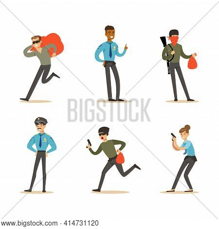 Set Of Police Officers And Robbers, Criminals Running Away From Policeman Vector Illustration