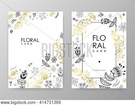 Gold Color Invitation With Floral Branches. Autumn Cards Templates For Save The Date, Wedding Invite