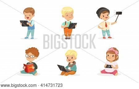Cute Kids Using Modern Gadgets And Reading Books Set, Little Boys And Girls Learning, Communicating
