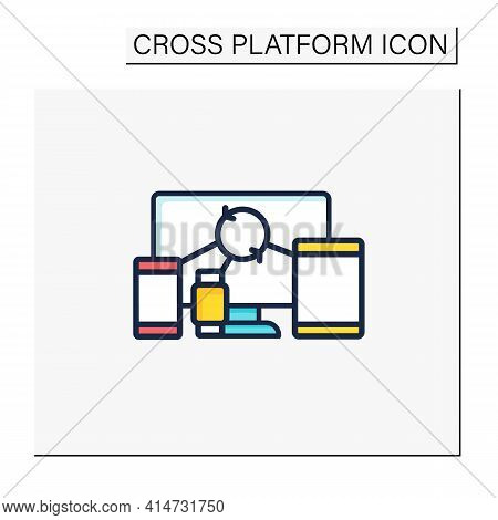Cross Device Syncing Color Icon.synchronizing All Information In Different Devices. Connecting To De