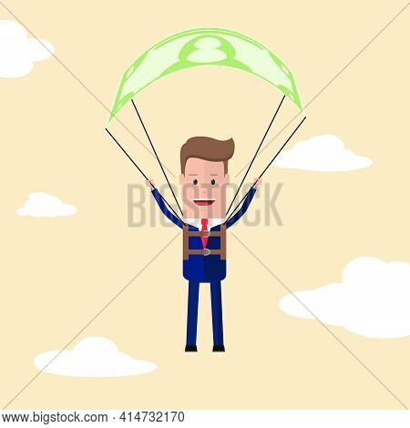 Businessman Is Flying Using Bank Note As A  Parachute. A Man In A Suit And With A Briefcase In His H