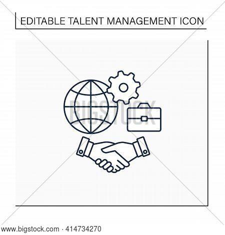 Inclusive Culture Line Icon. Respect, Equity, Positive Differences Recognition. Etiquette. Equal Emp