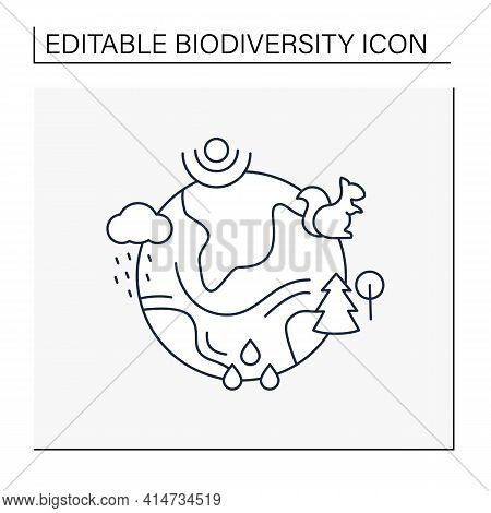 Ecosystem Line Icon. Living Community Of Organisms. Consist Of Different Zones Like Tundra, Grasslan