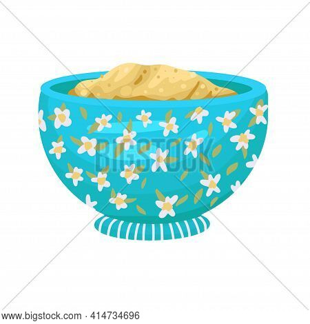 Porridge In A Bowl, Dough In A Plate, A Bowl With , Baby Food, A Plate In A Flower Pattern. Vector I