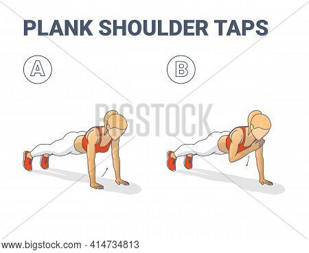 Plank Shoulder Taps Female Home Workout Exercise Guidance. Woman Doing Shoulder Touches From Plank.