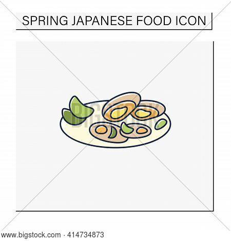 Asari Clams Color Icon.fried In Butter Clams On Plate. Traditional Dish.spring Japanese Food Concept