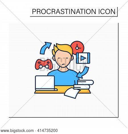Procrastination Habit Color Icon. Routine Procrastinating Process. Day Plan. Daily Habits. Overload