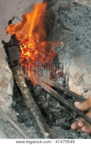 Forge fire at a blacksmith