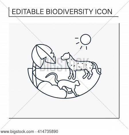 Tropical Rainforest Line Icon.humid And Warm Place.located Near The Equator.living Place For Dangero
