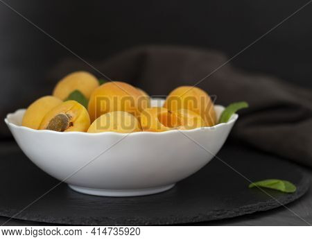 Fresh Fruits. Healthy Food. Mixed Fruit, Apricots And Peaches. Studio Photography Of Various Fruits