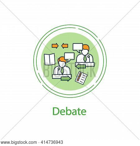 Candidates Debate Concept Line Icon. Election Campaign, Briefing. Choice, Vote Concept. Democracy. P
