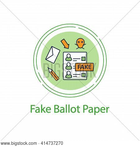 Fake Ballot Concept Line Icon. Empty Fraud Form Or Checklist. Choice, Vote Concept. Democracy. Parli