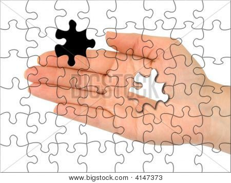 Puzzle Hand Without One Piece