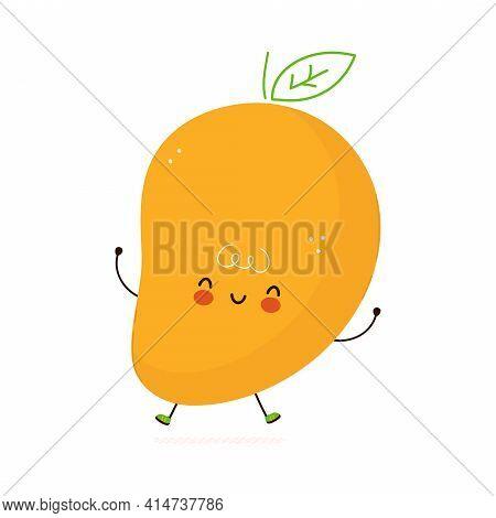 Cute Funny Mango Fruit Character. Vector Hand Drawn Cartoon Kawaii Character Illustration Icon. Isol