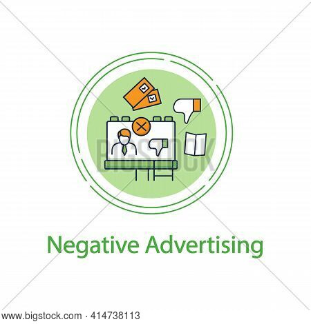 Negative Ad Concept Line Icon. Election Campaign, Black Pr, Propaganda. Choice, Vote Concept. Democr