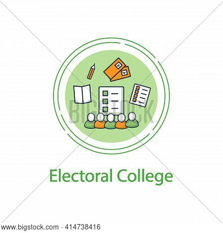 Electoral College Concept Line Icon. Election Commission. Voters. Choice, Vote Concept. Democracy. P
