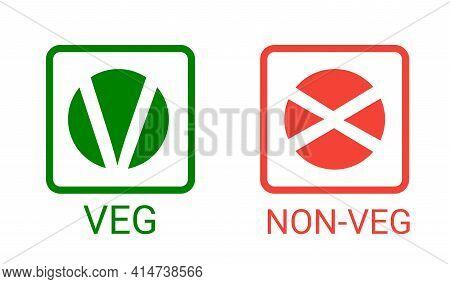Veg, Non-veg - Vegetarian And Non-vegetarian Marks In India, Sri Lanka, Pakistan. Green Sign For Pac