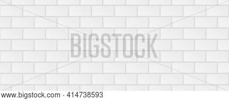 Subway Tile Background. White Seamless Patter For Kitchen Backsplash, Bathroom Wall, Shower. Vector