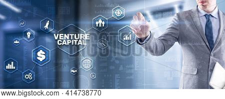 Venture Capital. Investor Capital. Businessman Pressing Virtual Screen Inscription