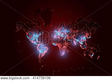 Coronavirus Vaccination On World Map. World Covid Pandemic. Vector Herd Immunity Background Illustra
