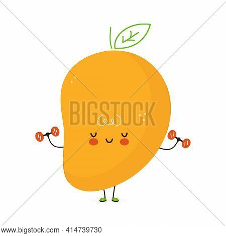 Cute Funny Mango Fruit With Dumbbells. Vector Hand Drawn Cartoon Kawaii Character Illustration Icon.