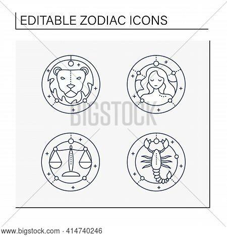 Zodiac Line Icons Set. Fourth Fire Signs In Zodiac. Birth Symbols. Leo, Virgo, Scorpio, Libra. Mysti