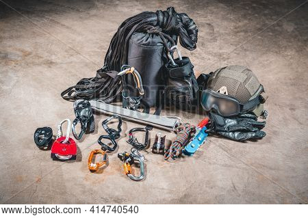 Military Climber Set. Mounts For Storming Buildings And Rescuing Hostages. Swat Concept.