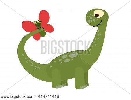 Baby Dinosaur Playing With A Butterfly. The Isolated Object On A White Background. Cheerful Kind Ani