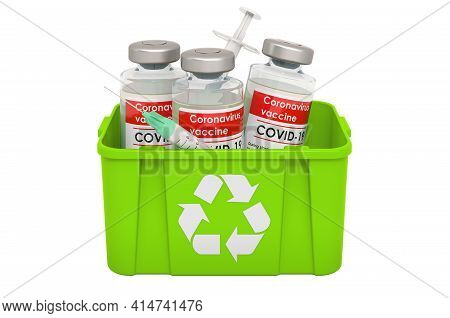 Recycling Trashcan With Vaccine. 3d Rendering Isolated On White Background