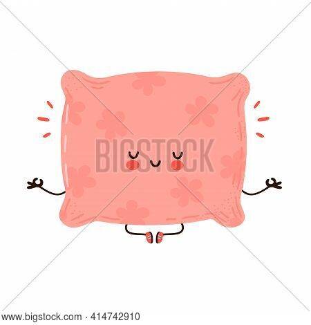 Cute Funny Pillow Meditate In Yoga Pose. Vector Hand Drawn Cartoon Kawaii Character Illustration Ico