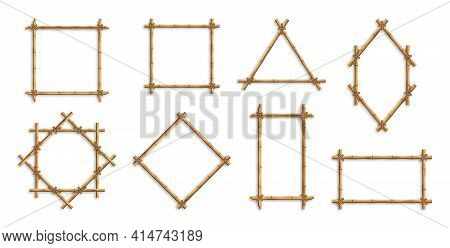Bamboo Frames. Brown Bamboo Sticks Tied With Ropes Of Square, Rectangular And Round Shapes. Japanese