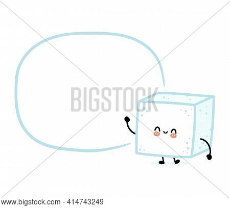 Cute Funny Happy Sugar Piece Cube Character With Text Box. Vector Flat Line Cartoon Kawaii Character