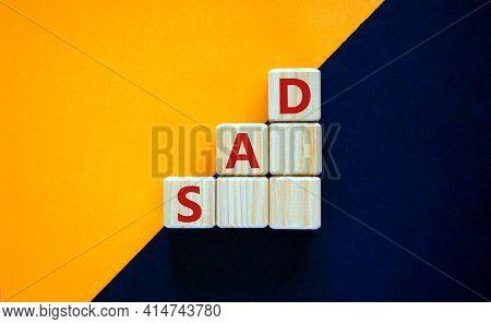 Sad, Social Anxiety Disorder Symbol. Concept Words 'sad, Social Anxiety Disorder' On Cubes On A Beau