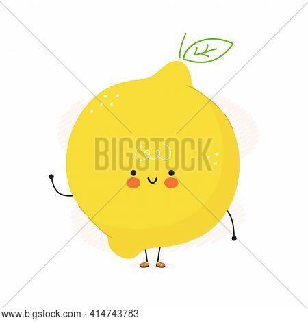 Cute Funny Lemon Fruit Character. Vector Hand Drawn Cartoon Kawaii Character Illustration Icon. Isol
