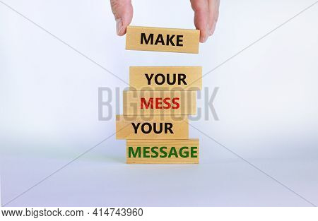 Business Concept Growth Success Process. Wood Blocks On White Background, Copy Space. Businessman Ha