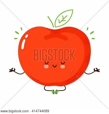Cute Funny Apple Fruit Meditate In Yoga Pose. Vector Hand Drawn Cartoon Kawaii Character Illustratio