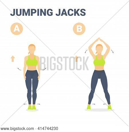 Jumping Jacks Female Home Workout Exercise Guidance Colorful Vector Illustration.
