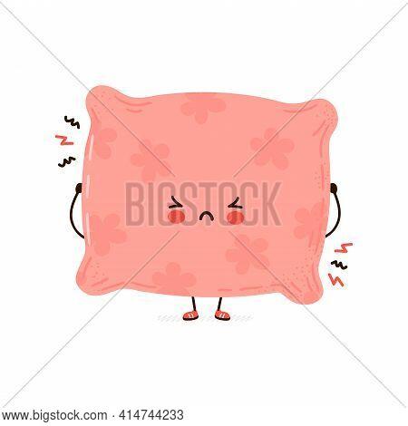 Cute Sad Pillow Character. Vector Hand Drawn Cartoon Kawaii Character Illustration Icon. Isolated On