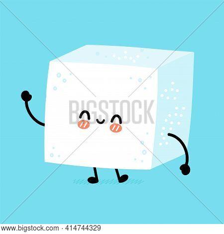 Cute Funny Happy Sugar Piece Cube Character. Vector Flat Line Cartoon Kawaii Character Illustration